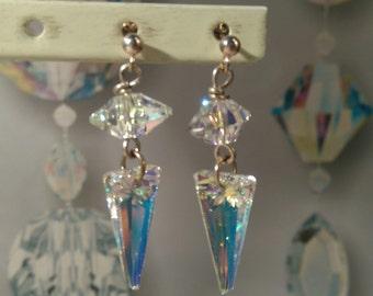 Sterling silver crystal drop handmade earings