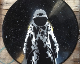 Astronaut - Spray paint wall art on vinyl, Hand cut stencil art