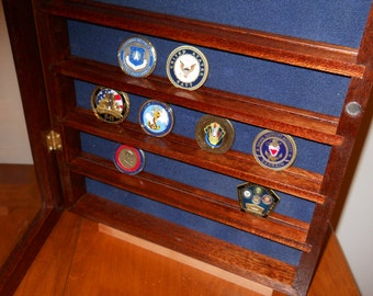 Handmade challenge-coin case can be wall-hung or displayed on desktop