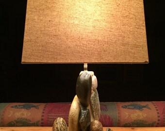 Rustic  Lake Michigan stone lamp