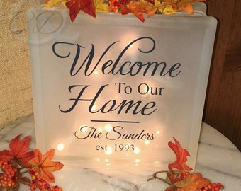 Welcome To Our Home Glass Block