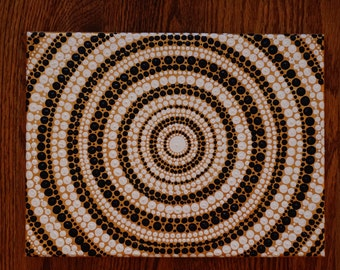 White & Navy Mandala Dotillism 12in x 9in