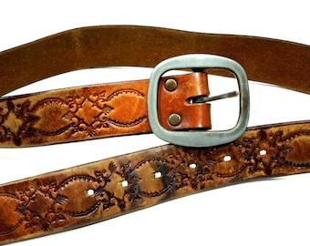 VINTAGE: Boho Distressed Stamped Tooled Belt - Hippie Leather Belt - (19-B1-00005773)