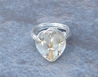 Sky  Full of Stars  Sterling Silver wire wrapped ring. Handmade. Size 7