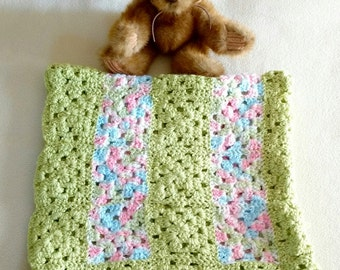 """Hand-crocheted baby blanket in green, pink, blue, white granny squares, 30"""" x 29"""""""