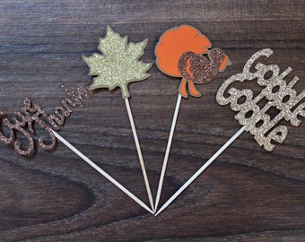 Thanksgiving Cupcake Toppers - Give Thanks, Leaf, Turkey, Gobble Gobble