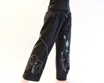 Schlupfhose, cotton, wide waistband, black, Sweathose