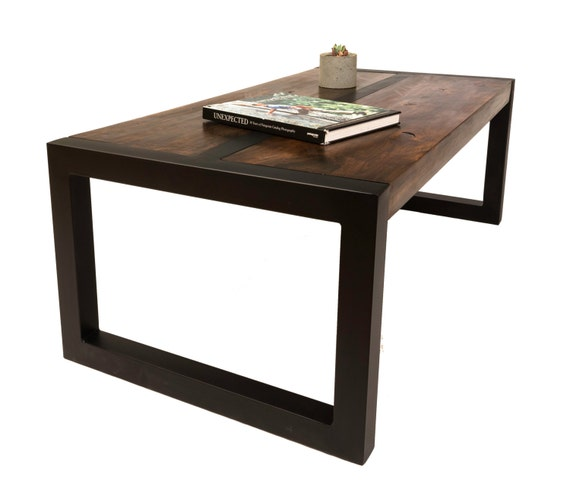 Handmade Handcrafted Steel Wood Coffee Table Modern
