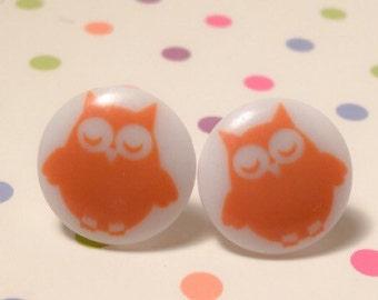 Melon & White Owl Earrings
