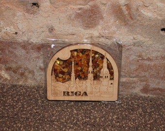 Magnet ''Panorama of Riga'' | Amber magnet | Riga and Latvia | Baltic amber