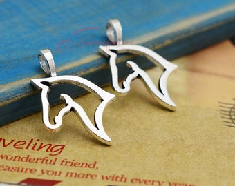 20PCS--31x20mm Horse Charms, Antique Silver Tone horse head Charm Pendants, DIY Findings, Jewelry Making JAS7689