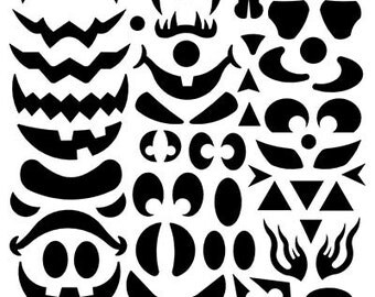 Halloween Pumpkin Create a Face Decal SVG Cut Files Instant Download