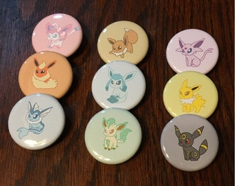Eeveelution Buttons - Set of 9 - Pokemon buttons (Eevee, Flareon, Jolteon, Vaporeon, Leafeon, Glaceon, Umbreon, Espeon, Sylveon)