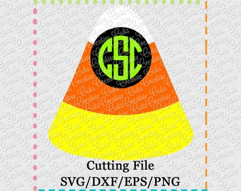 Candy Corn Monogram Cutting File SVG, EPS, DXF, and png for cutting machines Silhouette Cameo Cricut Scan n Cut