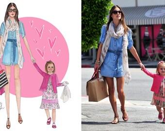Mother Fashion Digital Portrait Illustration, Custom Mom illustration, Custom portrait from photo, Family portrait, Digital Download