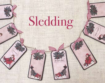 Sledding (Red Bow)  ---garlands,  banners, bunting,   wall decor,  mantel decor,  seasonal,  gifts