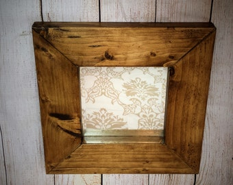 Reclaimed Wooden Mirror  - Entry way mirror - square mirror - 5th Wedding anniversary present - birthday present .