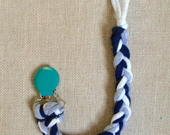 Anchors Away! Clip - Upcycled Jersey Pacifier Clip 100% Cotton