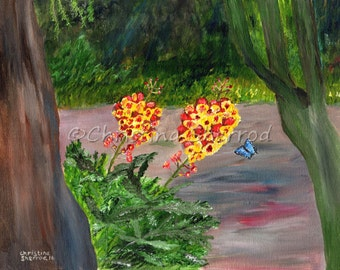 """Blank Greeting Card – """"Gretchen's Garden"""" -  From Original Acrylic Painting - 5x7 – Horizontal"""