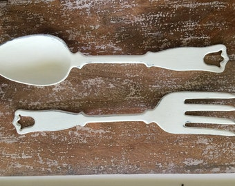 Metal shabby chic fork and spoon
