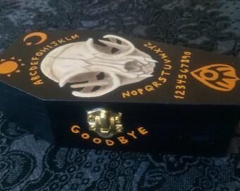 Coffin Keepsake Box with Cat Skull & Ouija Board Design