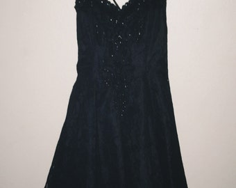 VTG Little Strappy Black Party Dress (LSBPD) Darks! Sz S