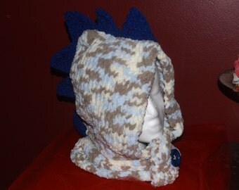 Blue Knit Hood with Spikes