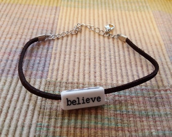 BELIEVE/ALWAYS Inspirational Word  Brown Leather Bracelet