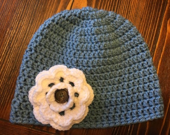 Womens Crochet Beanie With Removable Flower