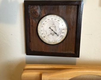 Antique English Thermometer Mounted on Vintage Barn Wood