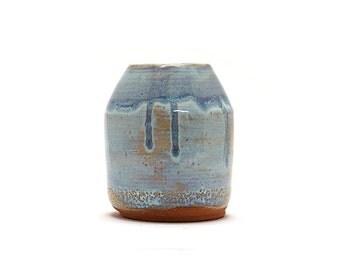 Hand Thrown Cylinder with 2 blue glazes