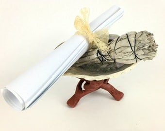 """Starter Smudge Kit - 4 Pieces - Abalone Shell, 3"""" White California Sage Stick, Wooden Stand, & Instructions"""