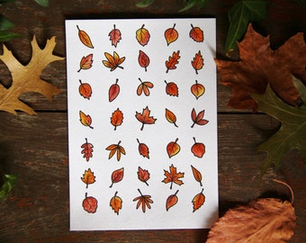 Leaves Illustration A4 Print or 10x15cm Postcard Coloured [18]