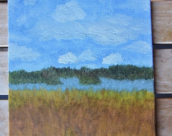 Field and Lake Painting 15,5 x 21,5 cm