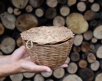 Hand Woven Basket, Storage Basket, Organizer Basket, Kitchen Basket, Wicker Basket, Home Decor, Eco Gift, Natural Materials, Lid Basket