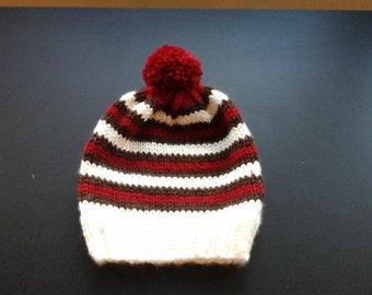 Boy's hand knit beanie.