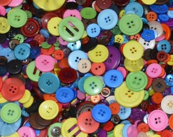 MIXED COLOUR - Plastic Buttons / Assorted Buttons - 50g, 100g, 300g, 500g.