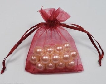 BURGUNDY - Organza Bags 7cm x 9cm For Wedding Favours, Jewellery, Gifts