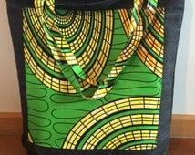 Tote bag, African print and Denim, Market bag, Beach bag, Shopper/carry on bag, Tribal, Ethnic print, Festival bag