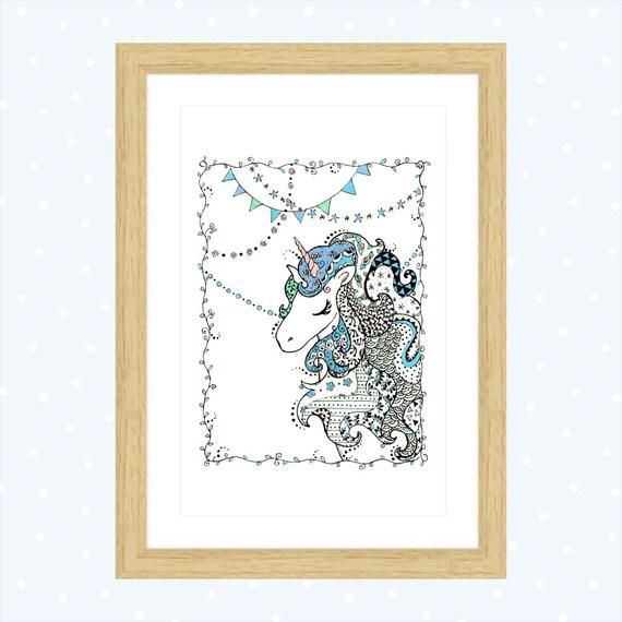 Articoli Simili A Disegno Unicorno Decorato Decorazione