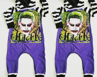 "Hooded long sleeve ""JOKER"" romper (suicide squad)"