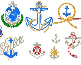 9 Designs, Sailor Anchor Machine Embroidery Design Pack, PES Format