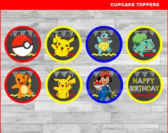 Pokemon cupcakes toppers Instant download, Pokemon Chalkboard toppers, Pokemon party toppers