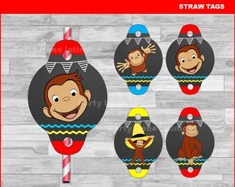 Curious George Straw Tags Instant download,  Curious George Chalkboard toppers,  Curious George party Straw Tags