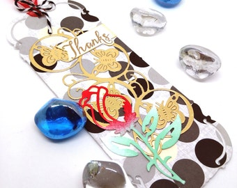 A set of handmade Thanks gift tags or bookmarks (include 5)