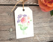 Watercolor Flower Bouquet Gift Tag Set of 8 - printed