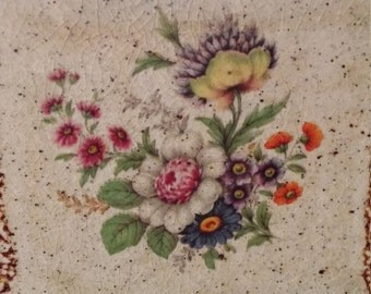 Antique Ceramic Tile with Colorful Flowers