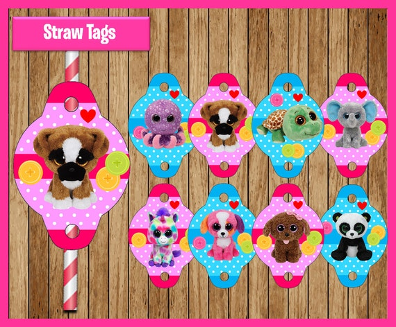 Beanie Boo straw tags instant download, Printable Beanie Boo party straw tags, Beanie Boo straw toppers