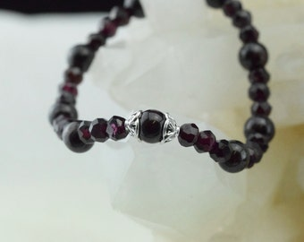 Garnet beads and silver bracelet