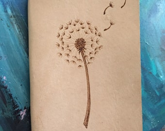 Refillable Leather Journal with Burned Dandelion Design